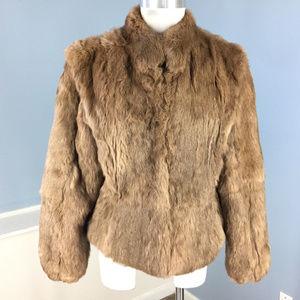 Vintage Rabbit Fur brown Coat women's M Excellent